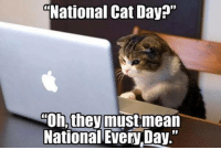 """Happy National Cat Day!!   Via CAT Planet: National Cat Day?""""  Oh, they must mean  National EveryDay."""" Happy National Cat Day!!   Via CAT Planet"""