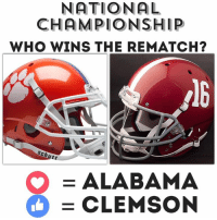 They just launched this...like Discover Myrtle Beach page and get to voting!: NATIONAL  CHAMPIONSHIP  WHO WINS THE REMATCH?  Schutt  O ALABAMA  CLEMSON They just launched this...like Discover Myrtle Beach page and get to voting!
