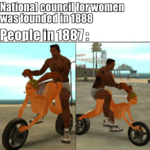 More of the best memes at http://mountainmemes.tumblr.com: National council for women  was founded in 1888  People in 1887 More of the best memes at http://mountainmemes.tumblr.com