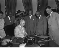 "National Freedom Day: Former President Harry Truman signs senate joint resolution 37 requesting the president to proclaim on, February 1, 1948, ""National Freedom Day."": National Freedom Day: Former President Harry Truman signs senate joint resolution 37 requesting the president to proclaim on, February 1, 1948, ""National Freedom Day."""