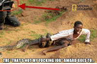 Fucking, Memes, and National Geographic: NATIONAL  GEOGRAPHIC  THE THATS NOT MY FUCKING JOB AWARDIGDESTO The moment you realize there are two cameramen...