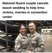 Top story on @tanksgoodnews yesterday goodnewsonly: National Guard couple cancels  beach wedding to help Irma  victims, marries in convention  center Top story on @tanksgoodnews yesterday goodnewsonly