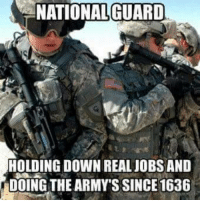 Shots fired. Let's see your rebuttal. -El Guapo: NATIONAL GUARD  HOLDING DOWN REAL JOBS AND  DOING THE ARMY'S SINCE 1636 Shots fired. Let's see your rebuttal. -El Guapo