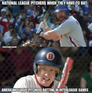 So True 🤣  credit: mlbtrashtalkerz ig: NATIONAL LEAGUE PITCHERS WHEN THEY HAVE TO BAT  OMLBTRASHTALKERS  8  AMERICANILEAGUE PITCHERS BATTING IN INTERLEAGUE GAMES So True 🤣  credit: mlbtrashtalkerz ig