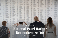 "Date, Live, and Pearl Harbor: National Pearl Harbor  Remembrance Da  December 7, 1941 National Pearl Harbor Remembrance Day — ""A date that will live in infamy!"" December 7, 1941."