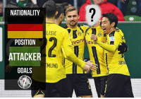 Can you guess the right Dortmund player? 👀: NATIONALITY  LISIC  POSITION  ATTACKER  MUND  GOALS  EV Can you guess the right Dortmund player? 👀