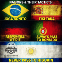 👀😆👌 Tactics Troll Higuain: NATIONS & THEIR TACTIC'S:  JOGA BONITO  TIKI TAKA  ALWAYS PASS  TO RONALDO  WE DIE  TROLL  FOOTBALL  f/TROLLFOOTBALL.HD  @ @TROLLFOOTBALL. HD  NEVER PASS TO HIGUAIN 👀😆👌 Tactics Troll Higuain