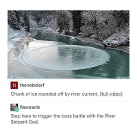 would play this video game-10: natsdor  thenatsdorf  Chunk of ice rounded off by river current. [full video]  スflavoracle  Step here to trigger the boss battle with the River  Serpent God. would play this video game-10