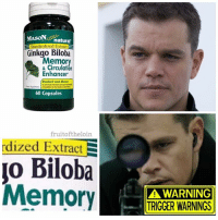 Some bullshit going on here 😡do they think I was born yesterday: natural  Standardized Extract  S  Ginkgo Biloba  Memory  & Circulation  Enhancer  Studied and Shown  to promote memory and  to the body's  60 Capsules  fruitoftheloin  rdized Extract  E  Biloba  A WARNING  TRIGGER WARNINGS Some bullshit going on here 😡do they think I was born yesterday