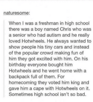awesomacious:  Sometimes highschool isn't so bad.: naturesome:  When I was a freshman in high school  there was a boy named Chris who was  a senior who had autism and he really  loved Hotwheels. He always wanted to  show people his tiny cars and instead  of the popular crowd making fun of  him they got excited with him. On his  birthday everyone bought him  Hotwheels and he went home with a  backpack full of them. For  homecoming they voted him king and  gave him a cape with Hotwheels on it.  Sometimes high school isn't so bad. awesomacious:  Sometimes highschool isn't so bad.