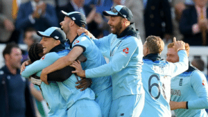 England Cricket Team members celebrating after winning the ICC World Cup: NatWest  B England Cricket Team members celebrating after winning the ICC World Cup