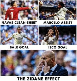 Memes, Goal, and 🤖: NAVAS  NAVAS CLEAN-SHEET  MARCELO ASSIST  Fly  Emirat  Fly  ites  BALE GOAL  ISco GOAL  THE ZIDANE EFFECT The Zidane effect 💪