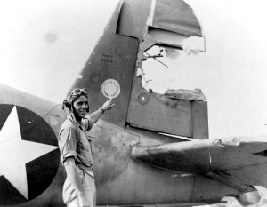 centreforaviation:  Damage to the tail of a Corsair during a dogfight over Guadalcanal: NAVY  02245 centreforaviation:  Damage to the tail of a Corsair during a dogfight over Guadalcanal