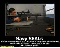 navy seal: Navy SEALS  Not only will they kill you from the fantail of a ship while you're bobbing  up and down in a liferaft.. They'll do it in the dark.  AND on Easter Sunday.  Shooter jobs.com