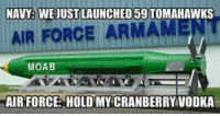 Meme, Memes, and Army: NAVY WE JUST LAUNCHED 59 TOMAHAWKS  AIR FORCE ARM  MOAB  AIR FORCE: HOLD MY CRANBERRY VODKA military militaryhumor militarymemes army navy airforce coastguard marines usmc airborne meme popsmoke