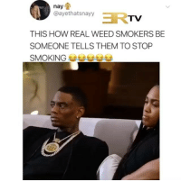 Memes, Smoking, and Weed: nay  @ayethatsnayy  TV  THIS HOW REAL WEED SMOKERS BE  SOMEONE TELLS THEM TO STOP  SMOKING They got tight rq 😂😂😂 ( Via: @ertvmedia )