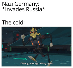 Adult Swim, Germany, and Russia: Nazi Germany:  *Invades Russia*  The cold:  Oh boy, here I go killing again  [adult swim] How tf do you people survive