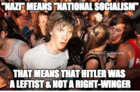 Memes, Bernie, and 🤖: NAZI MEANS NATIONALSOCIALISM  Fh.com/Capitalists  THATMEANSTHATHITLERWAS  ALEFTIST NOTARIGHT WINGER Don't tell Bernie!