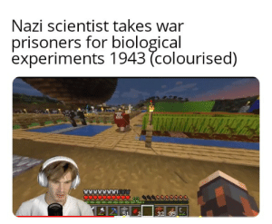 Prisoners, Nazi, and War: Nazi scientist takes war  prisoners for biological  experiments 1943 (colourised)  12  51  32 35 .