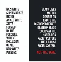 "Another super basic post bc apparently some people don't understand the difference between ""we are racist"" and ""we dislike racism."" 🙃🙃🙃🙃🙃 (reposted from Terry D. Williams) BlackLivesMatter: NAZI WHITE  SUPREMACISTS  DESIRE  AN ALL-WHITE  STATE  FORMED  BY THE  FORCIBLE,  VIOLENT  EXCLUSION  OF ALL  NON-WHITE  PERSONS.  BLACK LIVES  MATTER  DESIRES AN  END TO THE  DISPROPORTIONATE  DEATH OF BLACK  BODIES AT THE  HANDS OF A  RACIST CULTURE  AND A RACIST  SOCIAL SYSTEM.  NOT. THE. SAME. Another super basic post bc apparently some people don't understand the difference between ""we are racist"" and ""we dislike racism."" 🙃🙃🙃🙃🙃 (reposted from Terry D. Williams) BlackLivesMatter"