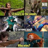 Batman, Marvel Comics, and Memes: NB  12 hours in the woods  arrows each  Who wins? My money is on Green Arrow. Who would you say wins in this Free-For-All?? - - GeekFaction thenerdybros Trendy Robin wonderwoman flash cyborg superman JusticeLeague Batman thedarkknight nightwing like4like instagood DC marvel comics superhero Fandom marvel detectivecomics warnerbros superheroes theherocentral hero comics avengers starwars justiceleague harrypotter herocentral starwars follow4follow