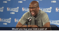 Bbb, Mike Brown, and Nba: @NBA  (a NBA  EE PLAYOFFS  PLAY  DIAYOFFS MP  @NBA  PLAYOFFS  YOFF  Would you buy your kids a pair of Mike Brown was not having it when it came to the $495 price tag of the BBB shoe   🎥: http://ble.ac/2p4T0XY