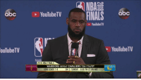Abc, Finals, and J.R. Smith: NBA  abc Y FINALS  YouTubeTV  YouTubeT  ouTubeTV  YouTubeTV  2018 NBA FINALS  WARRIORS DEFEAT CAVALIERS 124-114/0T  GSW LEADS 1-0  GM 2: SUNDAY-8:00 PM ET ON ABC LeBron walks off after repeatedly being asked about JR Smith.   (Via @NBATV)  https://t.co/VqMpErEOma