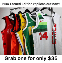 Basketball, Nba, and Sports: NBA Earned Edition replicas out now!  3  4  Grab one for only $35 NBA Earned Edition replica jerseys just dropped for only $35! Link in our bio to get yours today! Who's getting MVP this year?