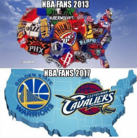 Basketball, Sports, and Cleveland: NBA FANS 2013  PHX  MEW  SR  ONBAMEMES  NBA FANS 2017  EN S2  CLEVELAND  ARRO What it seems like🙄