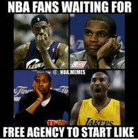 Bruh, Friday, and Friends: NBA FANS WAITING FOR  NBA.MEMES  FREE AGENCY TO START LIKE Bruh I can't wait 👀 it all starts at 12 AM Eastern time Friday night (so technically Saturday morning) 🙌 Ik there have been some exciting trades recently but there's nothing quite like free agency! 🔥 What moves do you most want to see this free agency?? Comment your thoughts below 👌 Double tap and tag some friends below! 👍⬇