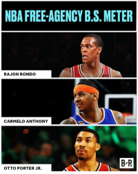 Carmelo Anthony, Nba, and Rajon Rondo: NBA FREE-AGENCY B.S. METER  RAJON RONDO  CARMELO ANTHONY  B R  OTTO PORTER JR. Melo to a contender? Rondo to LA? Checking the B.S. Meter on latest NBA rumors (Link in bio)