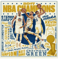 The Golden State Warriors are the 2017 NBA champions! (via NBA)   #DubNation #NBAFinals #WSHH https://t.co/QihSkzlRTW: NBA HAM NUNS  ANDRE  STEPHEN  CURRY  23  KEVIN  DURANT  DAVID WEST  LAN  JAMES MICHAEL MCADOo  T DRAY MON D  HOMPSONllarRNES GREEN The Golden State Warriors are the 2017 NBA champions! (via NBA)   #DubNation #NBAFinals #WSHH https://t.co/QihSkzlRTW