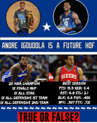 All Star, Finals, and Future: NBA  HAMPS  EAST  ANDRE IGOUDOLA IS A FUTURE HOF  GIXERS  2X NBA CHAMPION  IX FINALS MVP  1X ALL STAR  IX ALL DEFENSIVE 1ST TEAM  IK ALL DEFENSIVE 2ND TEAM  BEST SEASON  PTS: 19.9 REB: 5.4  AST: 4.8 STL: 2.1  BLK: 0.6 FG%: .456  3P%;,307FT%;-721  TRUE OR FALSE? Is Iggy a Future Hall of famer? He might continue to win more and more rings on the warriors - Follow @2nbamemes