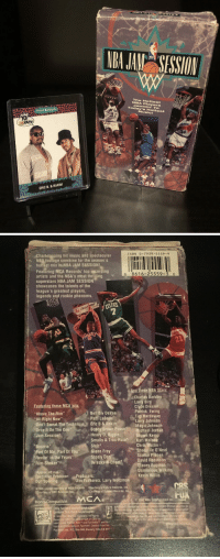 """Who else had NBA Jam Session on VHS! https://t.co/0Of4UpwpER: NBA JAMM SESSION  TM  The Hottest  NBA Players  Jammin' TO  Today's Hottest  Music!  ProSet MusiCards  YO  34  ERIC B. & RAKIM   ISBN 0-7939-5559-9  ng hit music and spectacular  NBA foolage combine for the season's  e hottest mix in NBA JAM SESSION  Featuring MCA Records' top tecording  artists and the NBA's most thrilling  superstars NBA JAM SESSION  showcases the talents of the  league's greatest players  legends and rookie phenoms  0 8616-25559-3 0  CELTICS  1  Charles Barkley  Larry Birgd  Feat  """"Above The Rim""""  All Right Now  Don't Sweat The Technique  Bell Biv DeVoe  Patti LaBelle  Eric B & Rakim  Clyde Drexler  Patrick Ewing  Tin Hardaway  Larry Johnson  Magic Johnson  Drop It On The One  , Bobby Brown PosseMichael Jordan  Jam Session  Heavy D, Biggle  Shawn Kemp  Smalls & Troo-Rula  Stylz  Karl Malone  Chris Mulline  Bounce  Part Of Me, Part Of You"""" Glenn Frey  Reelin' in the Years""""  Rim-Shaker  """"Shaguille O'Neal  Scottie Pippen ,  David Robinson  Stacey Augmon  Steely Da  Wreckx-N-Effect  Approx 40 min  Executive Producer: Producers:  Don speling A ﹃Jim Podhoretz, Larry Weitzman  Dominique Wilkins  Kevin Willis  Artists appear courtesy of MCA Records +Courtesy of Fature Records. Ine  urtesy of 888 Records. Inc  Courtesy of Uptown Records. I  Mono-Compatible.MCA  153 NBA Entertainment In  Entertainment IncvIDro  contain thie mark on wrapper  cas is atrademark of CBS Inc.  ense Fox Tw and FoxVideo and th  demarks ot Twentieth Century Fox Fitm orio  ine, P.O. Box 900, Beverly Hills,CA 902  ED Who else had NBA Jam Session on VHS! https://t.co/0Of4UpwpER"""