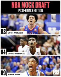 With the second overall pick, the Los Angeles Lakers select…NOT Lonzo Ball??? (Full mock ➡️ link in bio): NBA MOCK DRAFT  POSTFINALSEDITION  JOSH JACKSON  JONATHAN ISAAC  MALIK MONK  BR With the second overall pick, the Los Angeles Lakers select…NOT Lonzo Ball??? (Full mock ➡️ link in bio)