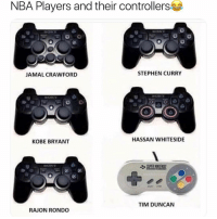 Lmao: NBA Players and their controllers  JAMAL CRAWFORD  STEPHEN CURRY  KOBE BRYANT  HASSAN WHITESIDE  TIM DUNCAN  RAJON RONDO Lmao