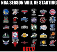 Chicago, Chicago Bulls, and Memes: NBA SEASON WILL BE STARTING  NETS  ISTONS  @NBAMEMES  BUCKS MIAMI  HEAT  SPUAS  LIPPERS  MEMPHIS  TMBERWOLYES  šuns  CHICAGO  BULLS  ETLAN  ORNET  Pacers 、lZAROS  OCT.17 Adam Silver making moves. WHO WILL YOU BE REPPIN'? @nbamemes Tags: Squad NBA October17