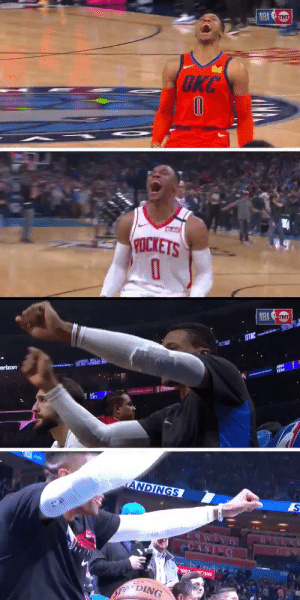 Russ did his OKC pre-game routine!   https://t.co/EeU46VGzRn: NBA UNT  OKC  CTA  POCKETS   NBA TNT  ANH  EDM  erizon  ANfHAN.CIO  1020  ANDINGS  ERWINI  CASINO  band  DING Russ did his OKC pre-game routine!   https://t.co/EeU46VGzRn
