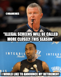 "Under new policy implementation, is Kendrick Perkins useless?: @NBAMEMES  ""ILLEGAL SCREENS WILL BECALLED  MORE CLOSELYTHISSEASON""  INTEGRIS  INTE GRI  Health  Heal  WUNDER  IWOULD LIKE TOANNOUNCEMYRETIREMENT Under new policy implementation, is Kendrick Perkins useless?"