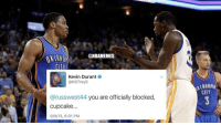 How it all started...😂 Cupcake: @NBAMEMES  Kevin Durant  @KDTrey5  @russwest44 you are officially blocked  cupcake.  9/9/13, 6:01 PM  CITT How it all started...😂 Cupcake