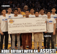 Nba, Red, and Dates: @NBAMEMES  nba  6179  Date Nov 15 2013  LAERS  Enba  50,000.00  ine Red Cross  phili  pay to the  Thousand and 00/100 Dollars  Order  c Hundred Fifty Typhoon Relief Effort  Los Angcles Lakers  :a 26 56 1.700 40 660  @AKERS  KOBE BRYANT WITH AN ASSIST! The Black Mamba: Assist!? Get well soon, Philippines! Credit: @Lakers