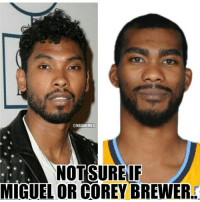 Can't tell if... Credit: Chris Windley  #Rockets Nation: @NBAMEMES  NOT SURE IF  MIGUEL OR COREY BREWER Can't tell if... Credit: Chris Windley  #Rockets Nation