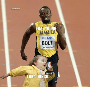 Nba, London, and Bolt: @NBAMEMES  TRAE VOUNG  JAMAIC  OTDK  BOLT  LONDON 2017  LUKA DONCIC Ben Simmons makes his ROY pick, and Trae reacts: bit.ly/TraeLukaROY