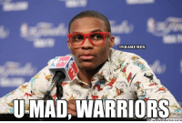 Russell Westbrook buries Warrior Nation: http://bit.ly/1afX5ov [VID]: @NBAMEMES  UMAD WARRIORS  com Russell Westbrook buries Warrior Nation: http://bit.ly/1afX5ov [VID]