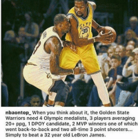 🤔🤔🤔 #Warriors Nation #Cavs Nation: nbaontopL When you think about it, the Golden State  Warriors need 4 Olympic medalists, 3 players averaging  20+ ppg, 1 DPOY candidate, 2 MVP winners one of which  went back-to-back and two all-time 3 point shooters...  Simply to beat a 32 year old LeBron James. 🤔🤔🤔 #Warriors Nation #Cavs Nation