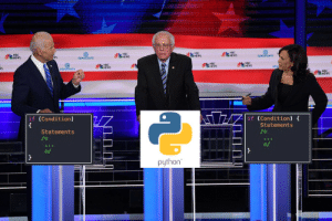 When youre stuck between two C++ devs at the lunch table: NBC  e  DEMORATS  ws  NWS  DEMOCRATS  NSC  DEN  DEMOCRATE  NBC  if (Condition)  if (Condition)  Statements  Statements  /  python When youre stuck between two C++ devs at the lunch table