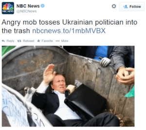 spoopy-junjouchara:  jean-luc-gohard:  I love that he looks more inconvenienced than truly angry.  Ah no whatever shall I do : NBC News  @NBCNews  *  Follow  NBC NEWs  Angry mob tosses Ukrainian politician into  the trash nbcnews.to/1mbMVBX  ReplyRetweet Favorite More spoopy-junjouchara:  jean-luc-gohard:  I love that he looks more inconvenienced than truly angry.  Ah no whatever shall I do