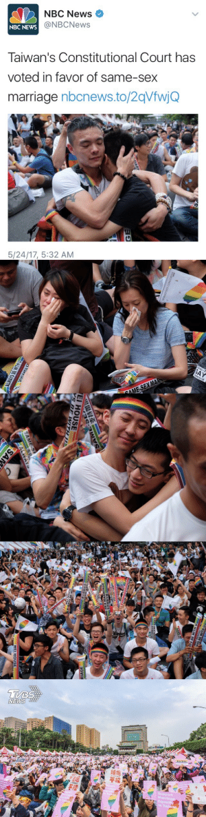 Asian, Marriage, and News: NBC News  @NBCNews  NBC  NEWS  Taiwan's Constitutional Court has  voted in favor of same-sex  marriage nbcnews.to/2qVfwjQ  5/24/17, 5:32 AM   EGALIZ  RRIAGE  MA  OME-SEX   EI HOUSE   NEWS  平權  Marriage  Equality  Tai constable-connor:  rallyforbernie: The first Asian nation to do so 🏳️‍🌈🏳️‍🌈🏳️‍🌈  Way to go Taiwan!