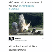"""Memes, News, and American: NBC News poll: American fears of  War grow: on.msnbc.com/  2uz5BUM  RMJ-H  @rmj_equals_hero  tell me this doesn't look like a  squirrel cumming If u don't say """"and we have liftoff"""" when u nut ur a poser"""
