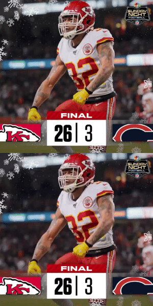 FINAL: The @Chiefs improve to 11-4! #ChiefsKingdom #KCvsCHI  (by @Lexus) https://t.co/8XJRqwsslC: NBC:  SUNDAY  NICHT  FOOTBALL  NFL  FINAL  26|3  A   -NEC:  SUNDAY  NICHT  FOOTBALL  NF  FINAL  26|3 FINAL: The @Chiefs improve to 11-4! #ChiefsKingdom #KCvsCHI  (by @Lexus) https://t.co/8XJRqwsslC